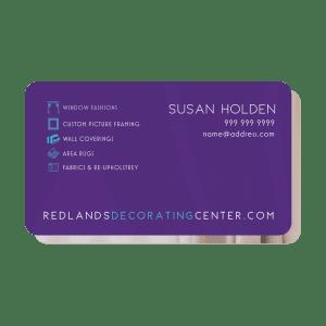 Redlands Decorating Services Business Cards Back Side