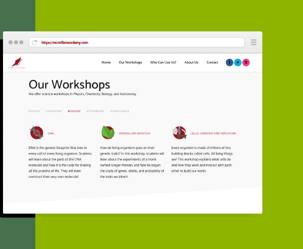 MCMilliian Academy Website Design and Development by Creative 7 Designs